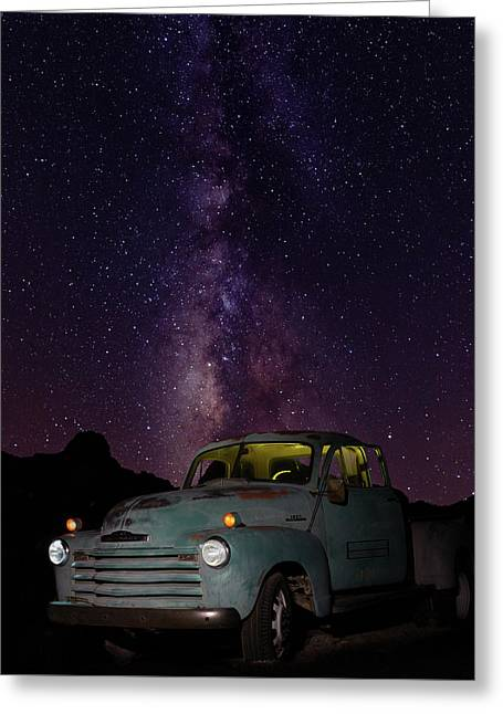 Classic Truck Under The Milky Way Greeting Card