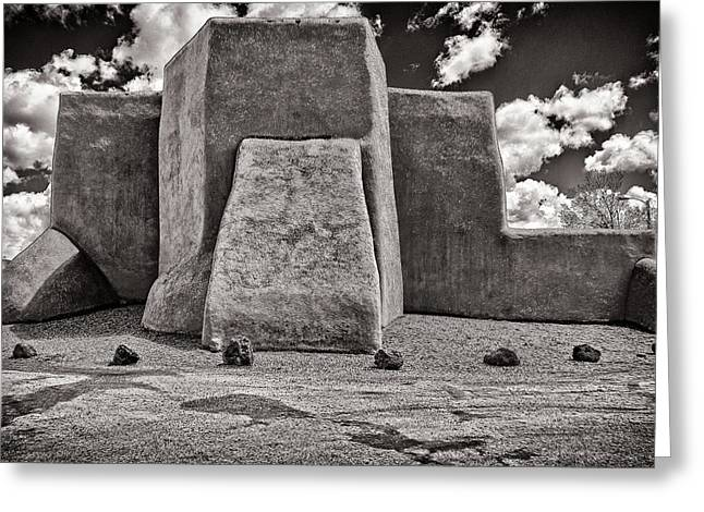 Classic View Of Ranchos Church In B-w Greeting Card by Charles Muhle