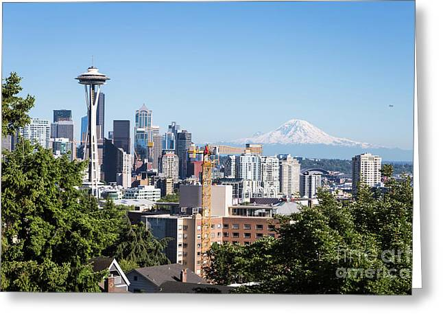 Classic View Of Seattle, Usa Greeting Card