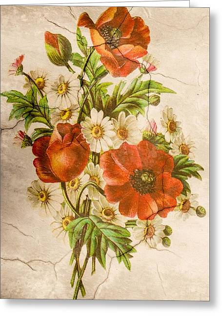 Classic Vintage Shabby Chic Rustic Poppy Bouquet Greeting Card
