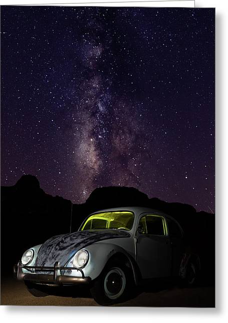 Classic Vw Bug Under The Milky Way Greeting Card