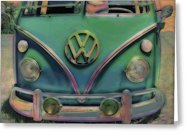 Classic Vw Bus Greeting Card by Ann Powell