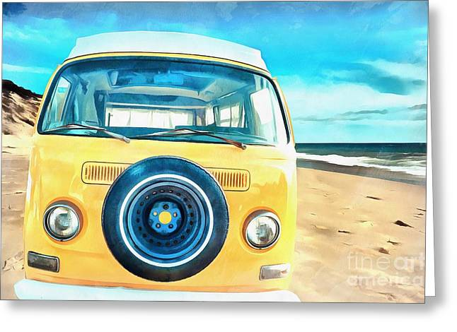 Classic Vw Camper On The Beach Greeting Card by Edward Fielding