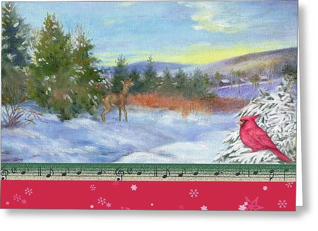 Greeting Card featuring the painting Classic Winterscape With Cardinal And Reindeer by Judith Cheng