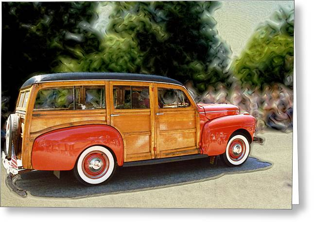 Classic Woody Station Wagon Greeting Card by Roger Soule
