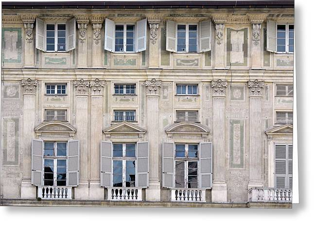 Classical Details On A Building Facade From Genova, Italy Greeting Card