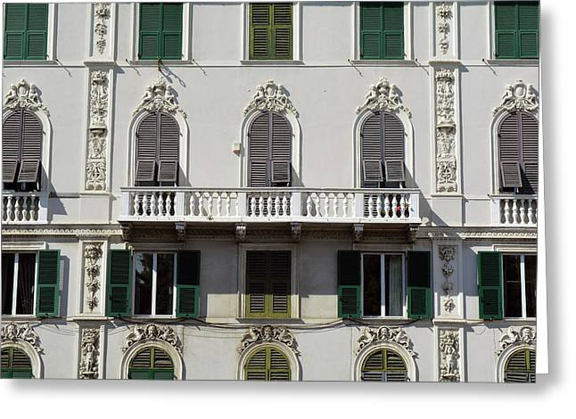 Classical Facade From Genova With Detailed Decoration Ornaments Greeting Card