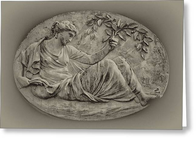 Classical Greek Woman Fresco Greeting Card by Bill Cannon