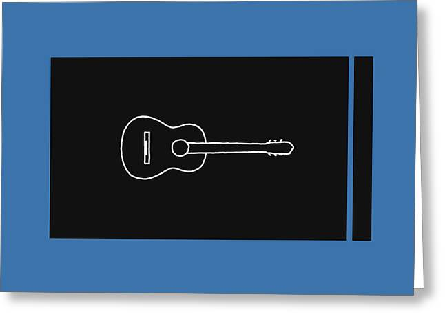 Classical Guitar In Blue Greeting Card by David Bridburg