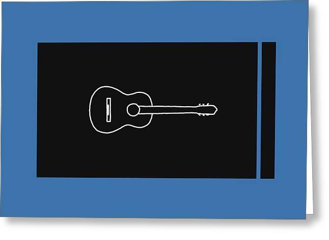 Classical Guitar In Blue Greeting Card