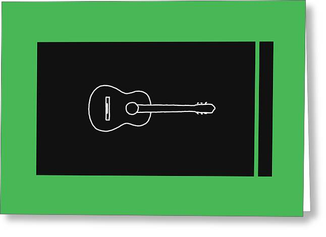 Classical Guitar In Green Greeting Card by David Bridburg