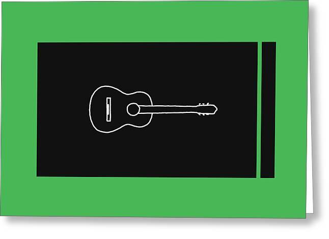 Classical Guitar In Green Greeting Card