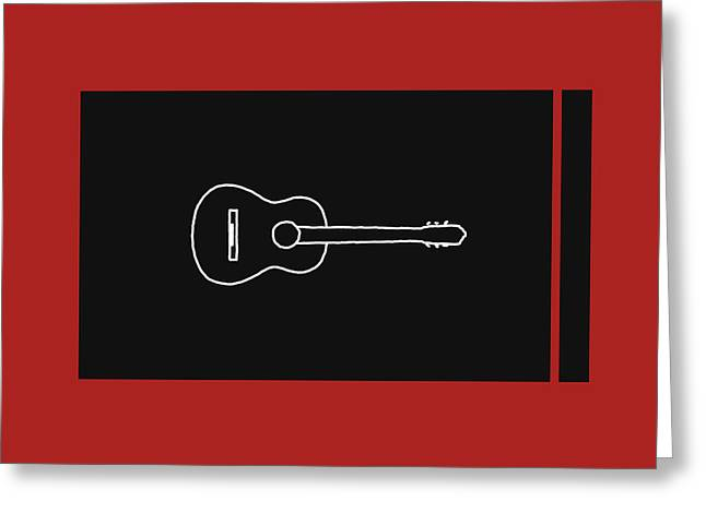 Classical Guitar In Orange Red Greeting Card