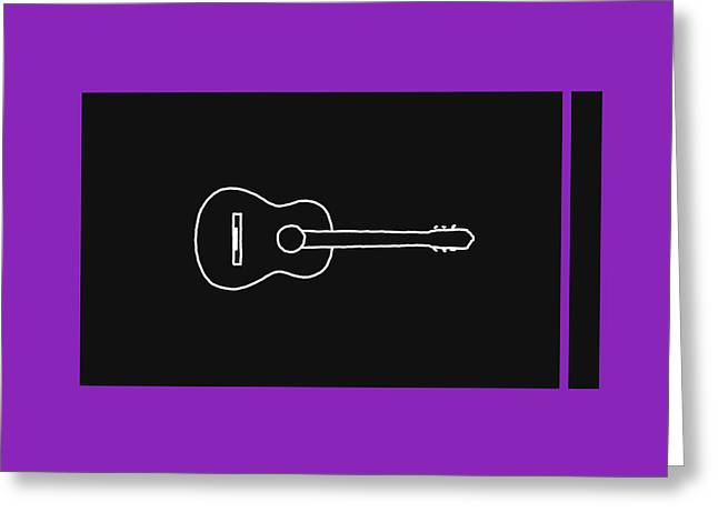 Classical Guitar In Purple Greeting Card by David Bridburg