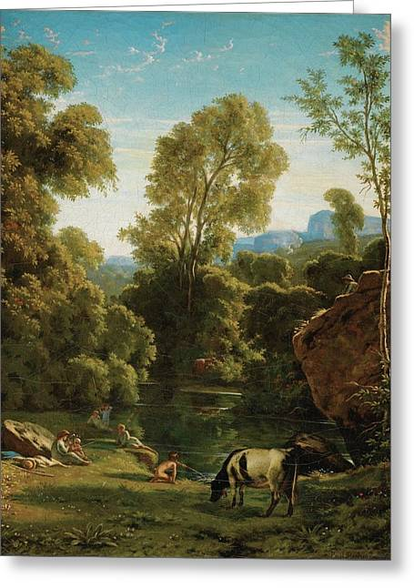 Classical Landscape With Figures By A Lake Greeting Card by MotionAge Designs