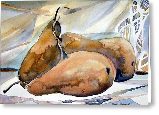 Classical Pears Greeting Card by Mindy Newman