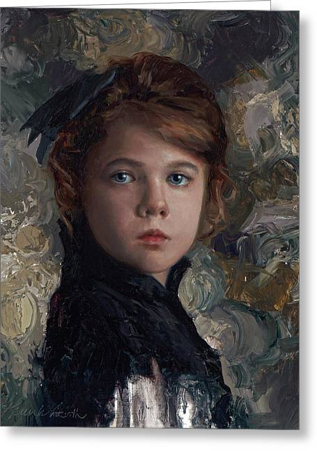 Classical Portrait Of Young Girl In Victorian Dress Greeting Card