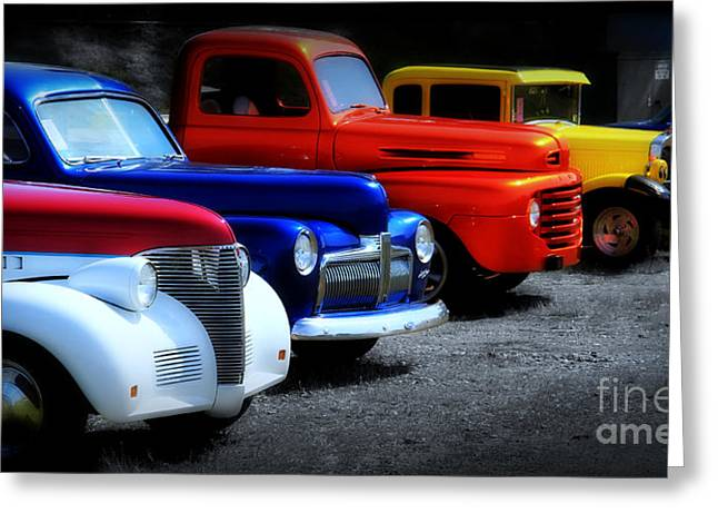 Blue Car. Greeting Cards - Classics Greeting Card by Perry Webster
