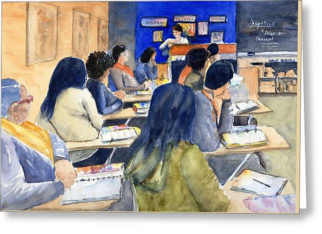 Greeting Card featuring the painting Classroom Teacher And Her Students by Carlin Blahnik CarlinArtWatercolor