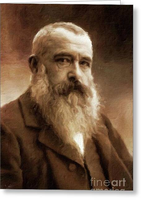 Claude Monet, Artist By Mary Bassett Greeting Card by Mary Bassett