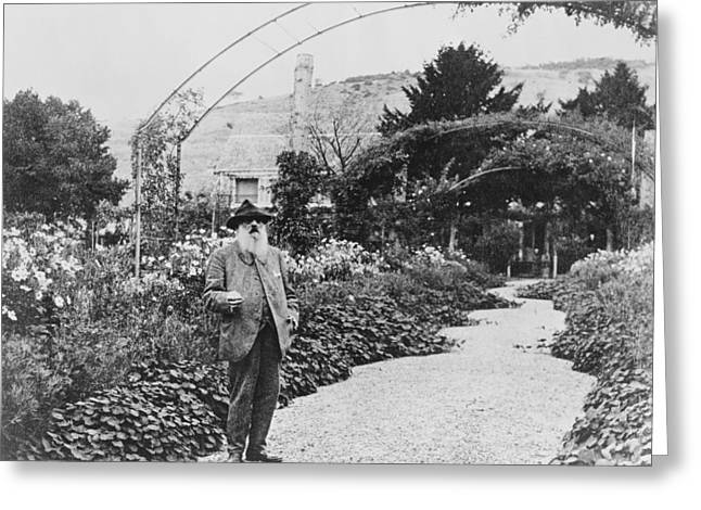 Claude Monet In His Garden Greeting Card by French School