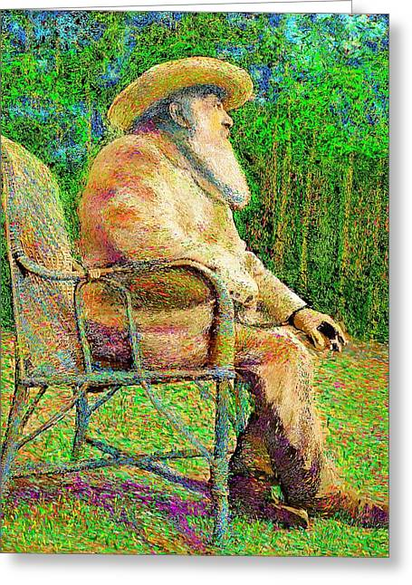 Claude Monet In His Garden Greeting Card by Hidden Mountain
