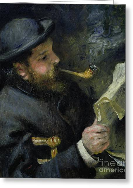 Renoir Greeting Cards - Claude Monet reading a newspaper Greeting Card by Pierre Auguste Renoir