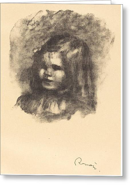 Claude Renoir - Turned Left - Claude Renoir - Tourne A Gauche Greeting Card by Auguste Renoir