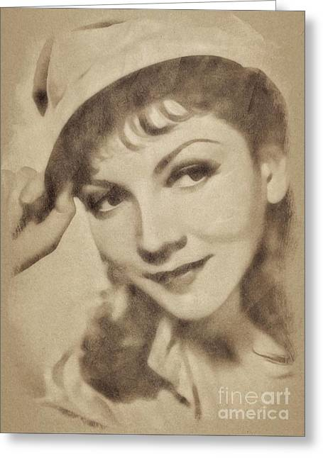 Claudette Colbert, Vintage Actress By John Springfield Greeting Card by John Springfield