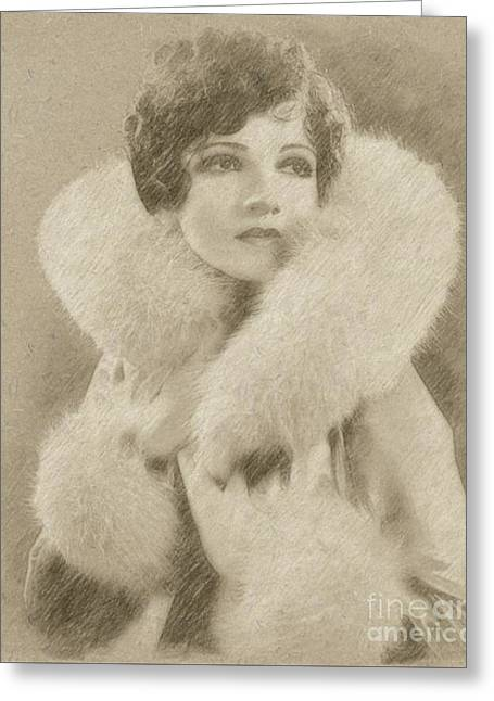 Claudette Colbert Vintage Hollywood Actress Greeting Card by Frank Falcon