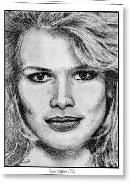 Catwalk Drawings Greeting Cards - Claudia Schiffer in 1992 Greeting Card by J McCombie