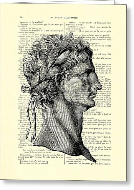 Claudius Caesar Black And White Portrait Greeting Card