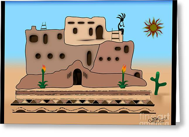 Clay House Greeting Card by Linda Seacord