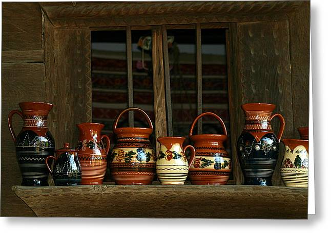 Clay Jugs  Greeting Card by Emanuel Tanjala