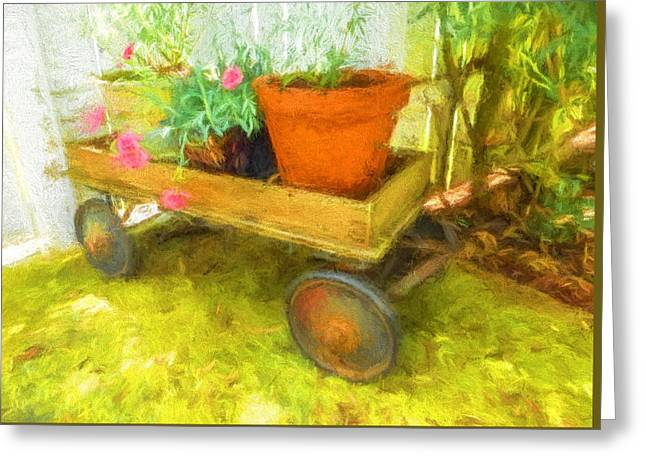 Clay Pot In Wooden Wagon Greeting Card