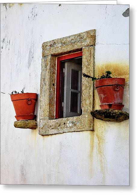 Greeting Card featuring the photograph Clay Pots In A Portuguese Village by Marion McCristall