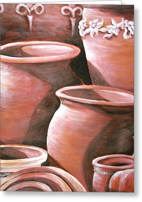 Shed Greeting Cards - Clay Pots Greeting Card by Melissa Wiater Chaney