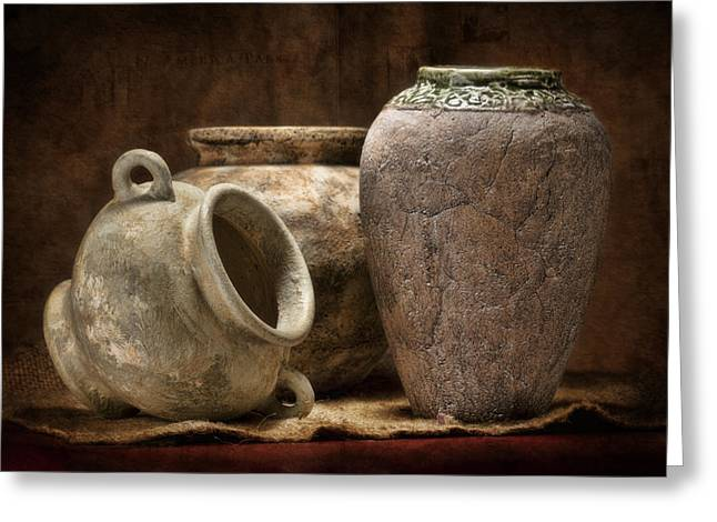 Jugs Greeting Cards - Clay Pottery II Greeting Card by Tom Mc Nemar