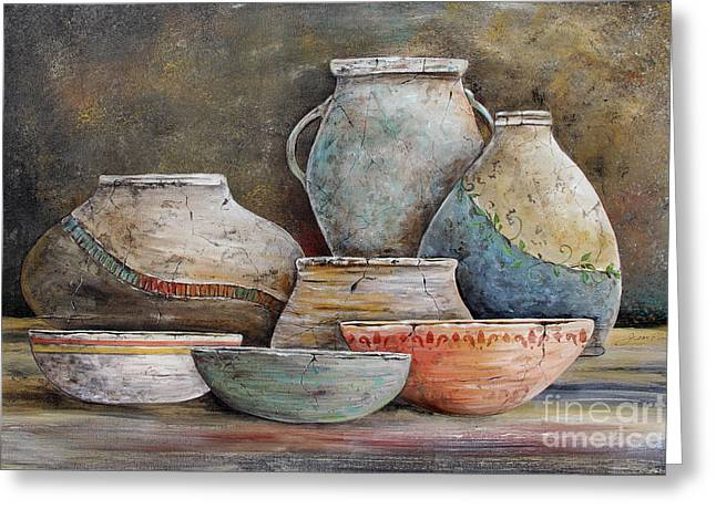 Greeting Card featuring the painting Clay Pottery Still Lifes-a by Jean Plout