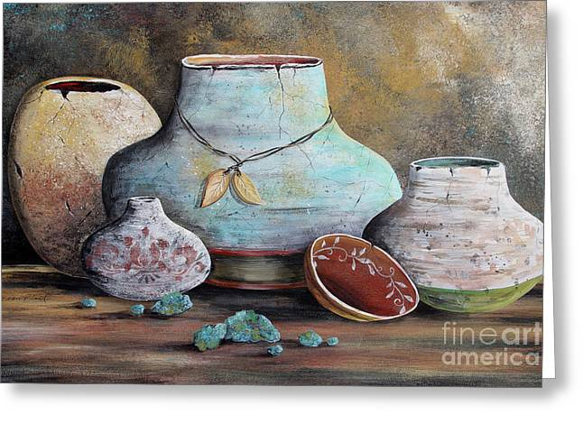Greeting Card featuring the painting Clay Pottery Still Lifes-b by Jean Plout