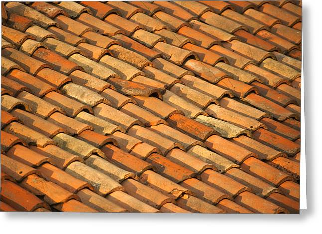 Shingles Greeting Cards - Clay Roof Tiles Greeting Card by David Buffington