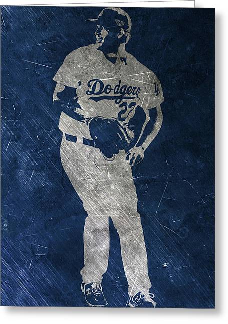 Clayton Kershaw Los Angeles Dodgers Art Greeting Card by Joe Hamilton