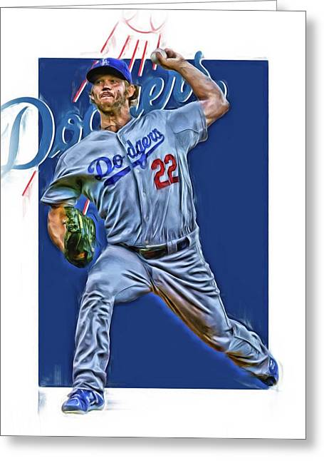 Clayton Kershaw Los Angeles Dodgers Oil Art Greeting Card by Joe Hamilton