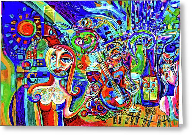 City At Night Music And Wine Abstract Greeting Card by Genevieve Esson