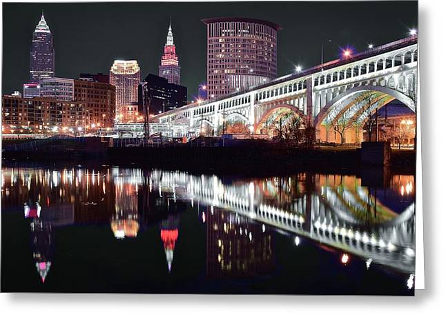 Greeting Card featuring the photograph Cle In Selective Color by Frozen in Time Fine Art Photography