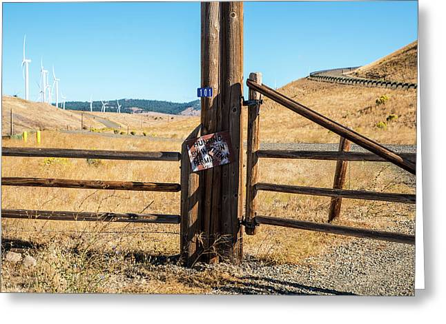 Clean Power And Old Ranch Gates Greeting Card