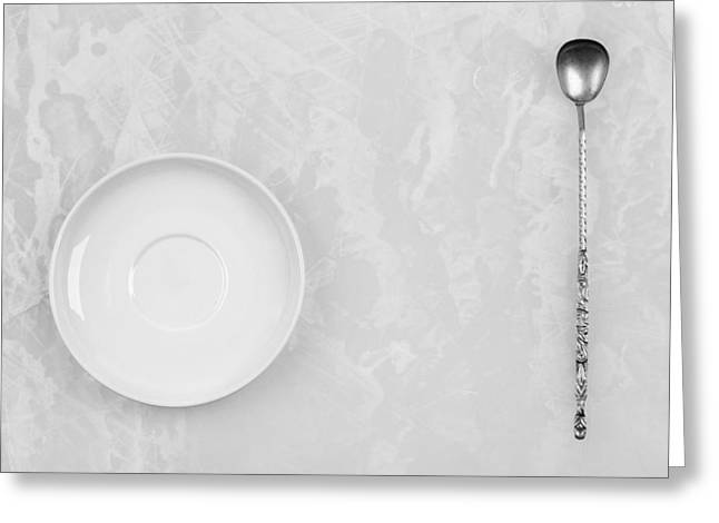 Greeting Card featuring the photograph Clean White Dish And An Old Silver Spoon  by Andrey  Godyaykin