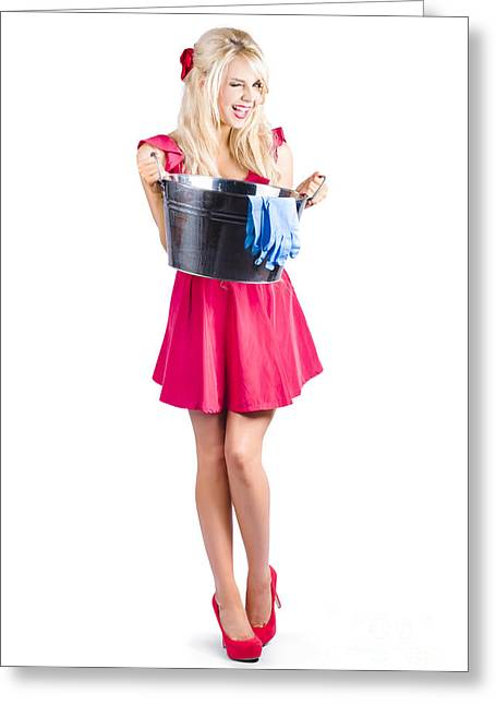 Cleaning Maid With Metal Wash Bucket Greeting Card by Jorgo Photography - Wall Art Gallery