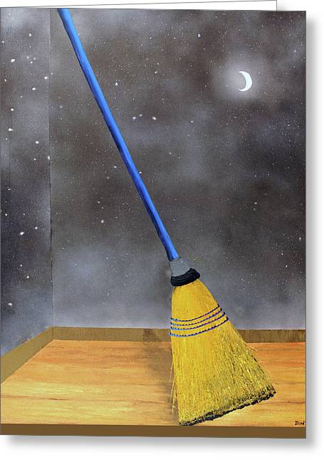 Greeting Card featuring the painting Cleaning Out The Universe by Thomas Blood