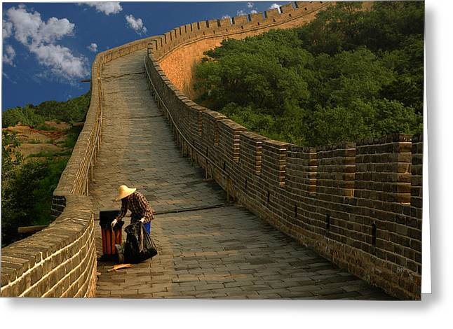 Cleaning The Great Wall Greeting Card